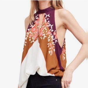Free People Floral Mock Neck Keyhole Tunic